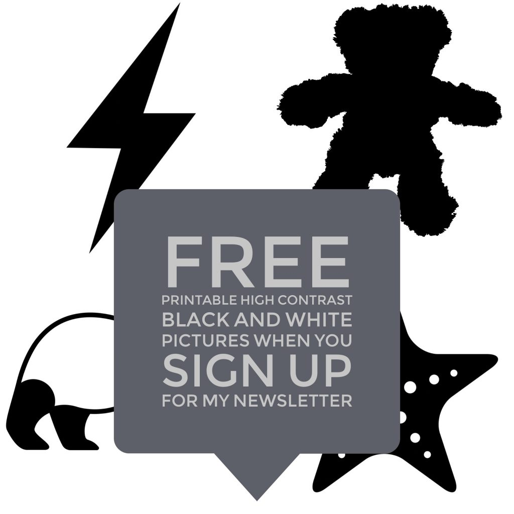 A series of black and white pictures with text overlaid that explains that you can get free printable high contrast black and white pictures when you sign up for my newsletter (which will kickstart your baby's eye development)