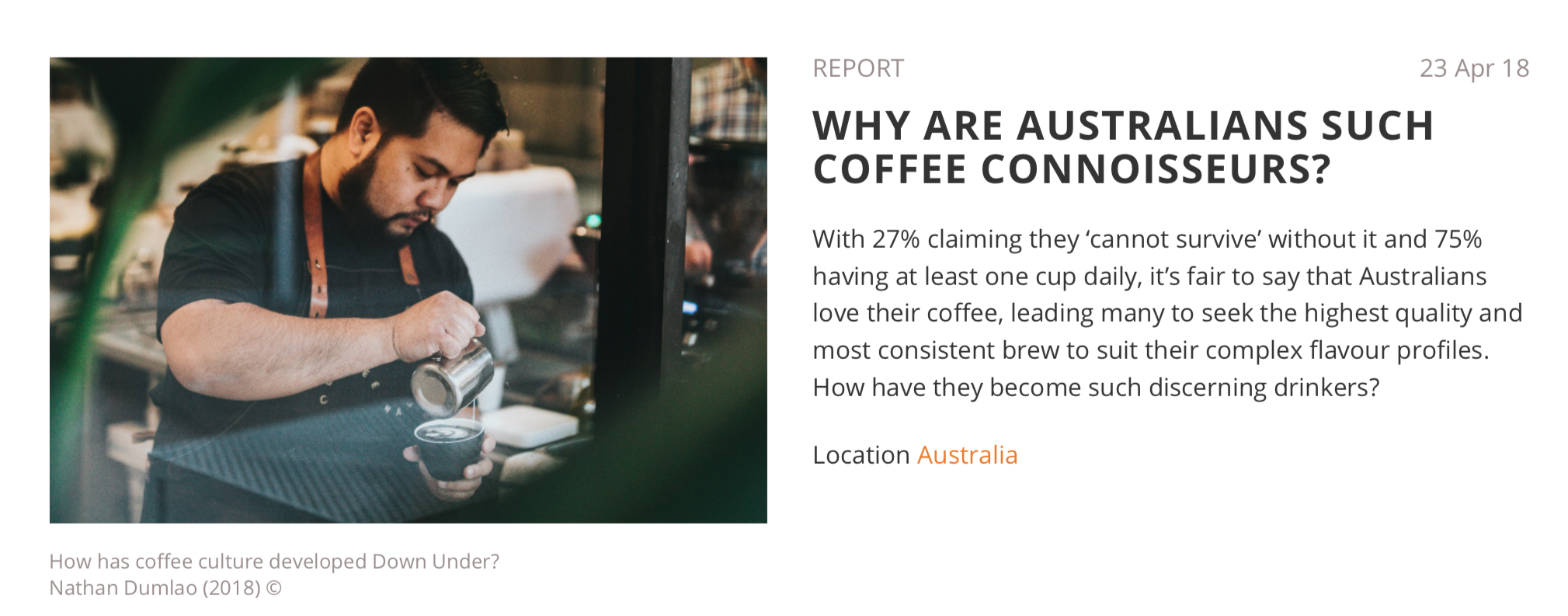 Article: Why are Australians such coffee connoisseurs?