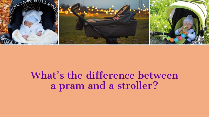 Three images of different prams and strollers with 'What's the difference between a pram and a stroller?' Overlaid