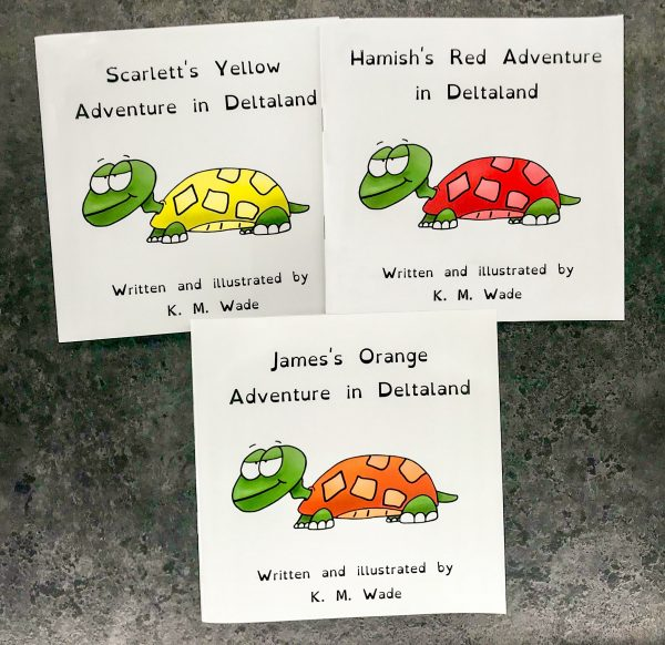 Personalised children's book product shot - 'My Adventure in Deltaland' - this is a photo of three versions of the book. Each cover has the title (with a different name instead of 'my') and a turtle with a cheeky expression. Each turtle is a different colour (those pictured in this image are red, orange and yellow) as there are 7 colours to choose from to personalise this book.