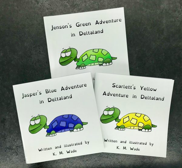 Personalised children's book product shot - 'My Adventure in Deltaland' - this is a photo of three versions of the book. Each cover has the title (with a different name instead of 'my') and a turtle with a cheeky expression. Each turtle is a different colour (those pictured in this image are green, blue and yellow) as there are 7 colours to choose from to personalise this book.
