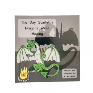 Personalised children's book product shot - The Day Scarlett's Dragons Went Missing - This is the cover of the book. A green dragon holds its hands up to a fire to warm them. The real dragon is holding a pen in one hand but the dragon's shadow's hand is holding a sword.(the pen is mightier than the sword)