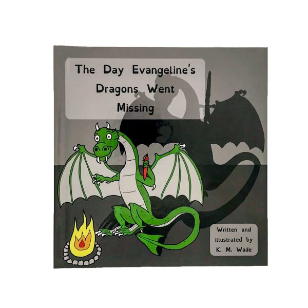 Personalised children's book product shot - The Day Evangeline's Dragons Went Missing - This is the cover of the book. A green dragon holds its hands up to a fire to warm them. The real dragon is holding a pen in one hand but the dragon's shadow's hand is holding a sword.(the pen is mightier than the sword)