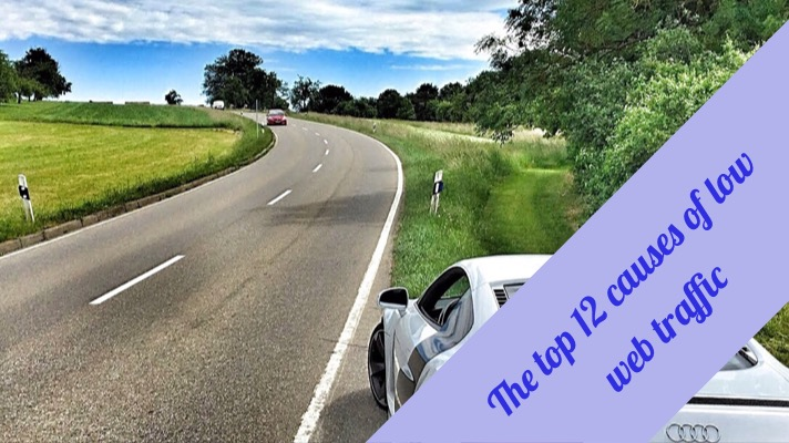 Causes of low web traffic: this is an image of a country road with only 1 car driving on it with the following text overlay 'the top 12 causes of low web traffic'