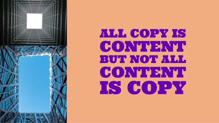 What is copy? This is an image of a square and an image of a rectangle with a text overlay that says All copy is content but not all content is copy