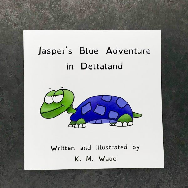 Personalised children's book product shot - 'My Adventure in Deltaland' - this is a photo of the blue version of the book. The photo shows the cover, which has the title (Jasper's blue adventure in deltaland) and a blue turtle with a cheeky expression