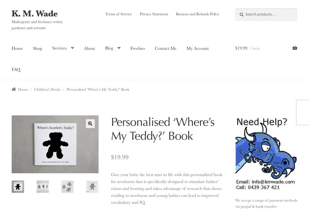 'Where's My Teddy?' Product Page