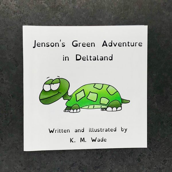 Personalised children's book product shot - 'My Adventure in Deltaland' - this is a photo of the green version of the book. The photo shows the cover, which has the title (Jenson's green adventure in deltaland) and a green turtle with a cheeky expression