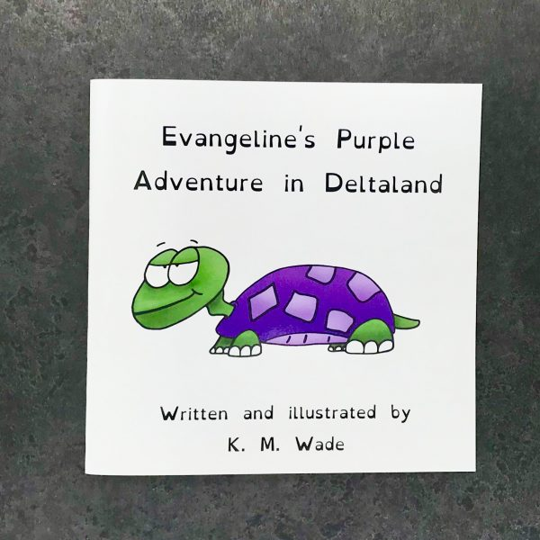 Personalised children's book product shot - 'My Adventure in Deltaland' - this is a photo of the purple version of the book. The photo shows the cover, which has the title (Evangeline's purple adventure in deltaland) and a purple turtle with a cheeky expression
