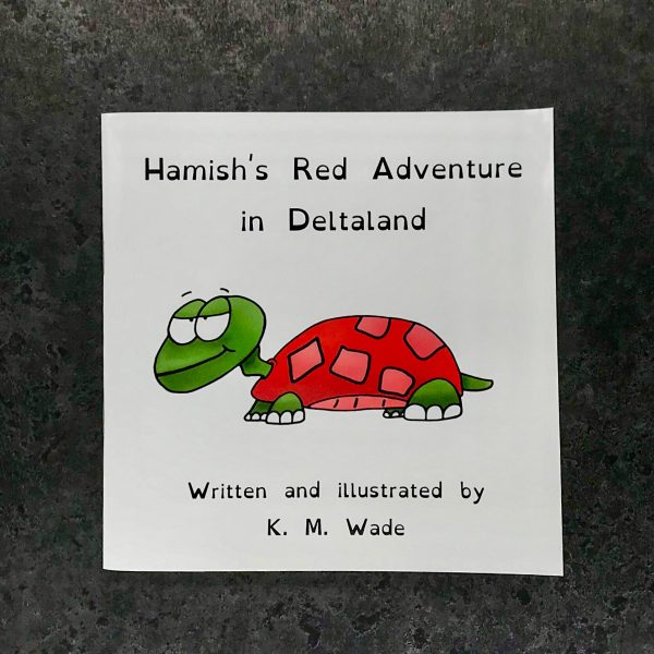Personalised children's book product shot - 'My Adventure in Deltaland' - this is a photo of the red version of the book. The photo shows the cover, which has the title (Hamish's red adventure in deltaland) and a red turtle with a cheeky expression