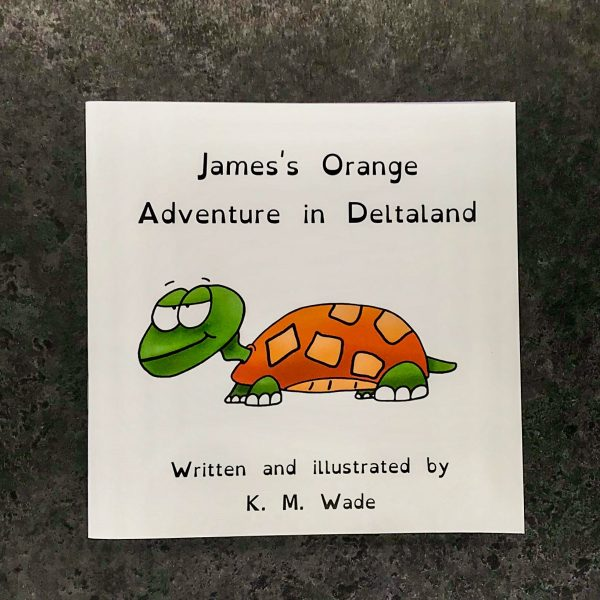 Personalised children's book product shot - 'My Adventure in Deltaland' - this is a photo of the orange version of the book. The photo shows the cover, which has the title (James's orange adventure in deltaland) and an orange turtle with a cheeky expression
