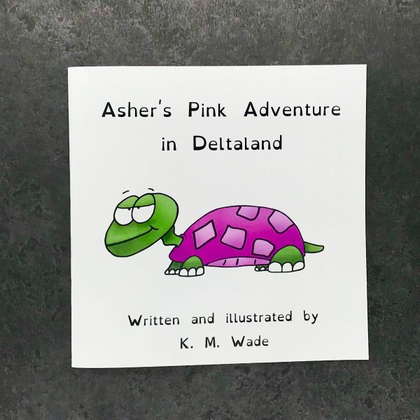 Personalised children's book product shot - 'My Adventure in Deltaland' - this is a photo of the pink version of the book. The photo shows the cover, which has the title (Asher's pink adventure in deltaland) and a pink turtle with a cheeky expression