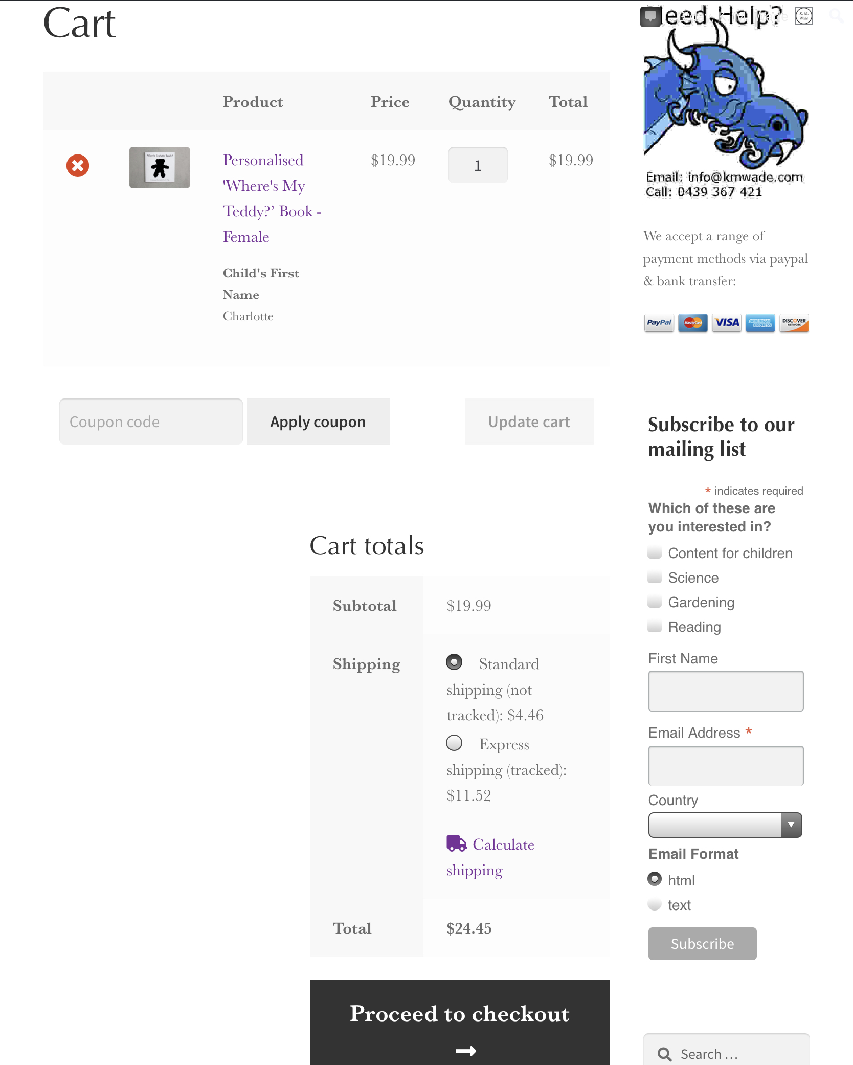 The K. M. Wade shopping cart page