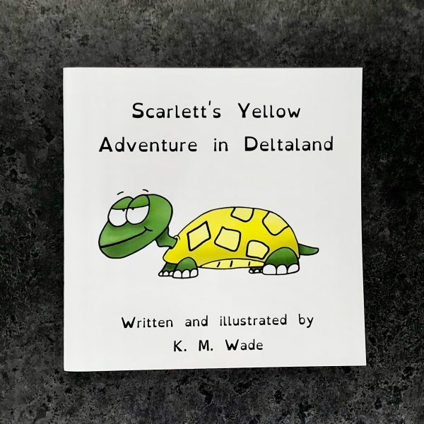 Personalised children's book product shot - 'My Adventure in Deltaland' - this is a photo of the yellow version of the book. The photo shows the cover, which has the title (Scarlett's yellow adventure in deltaland) and a yellow turtle with a cheeky expression
