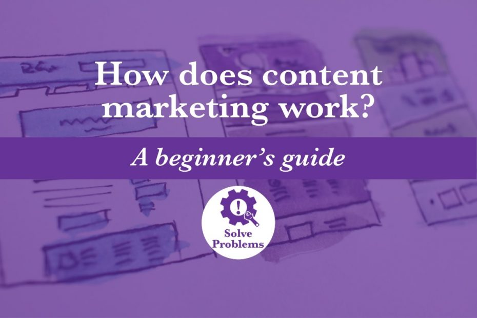 How does content marketing work?: A series of three hand drawn images depict a website and other forms of content