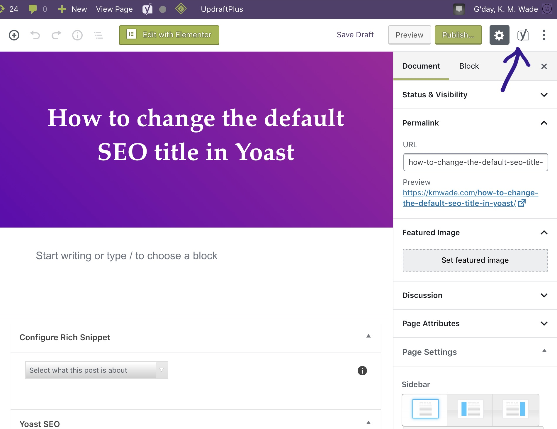 A screenshot showing the location of the Yoast SEO icon