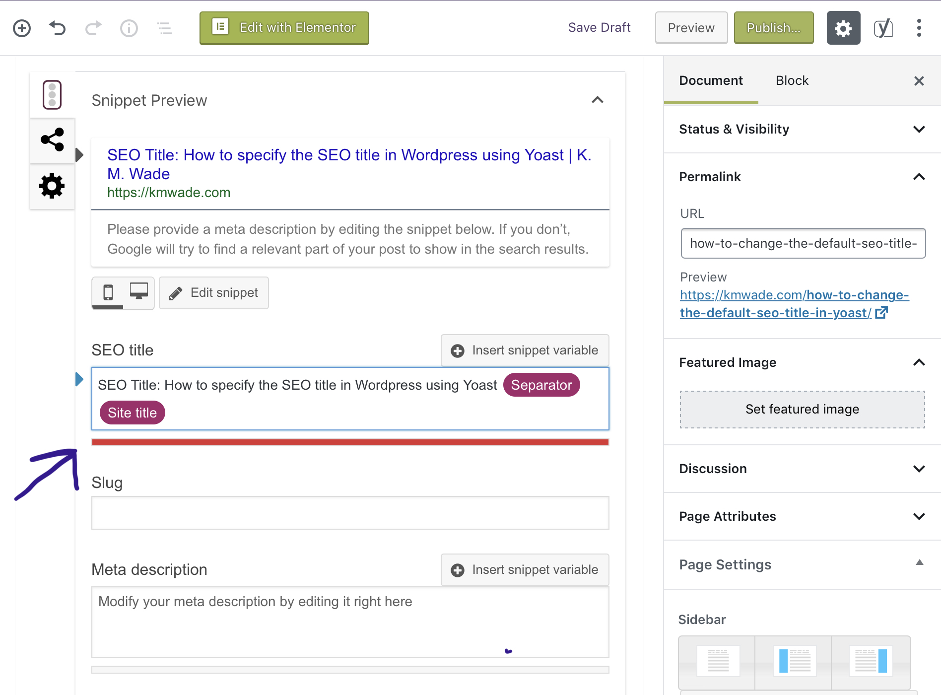 A screenshot showing how to edit the default SEO title in Yoast SEO