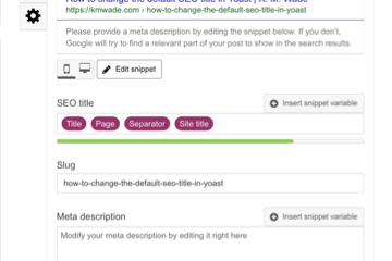 A screenshot of the Yoast SEO interface showing how to How to specify an SEO title for a blog post or webpage in Wordpress