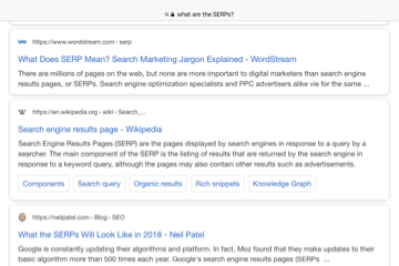 The SERPs: A screenshot of a typical first SERP