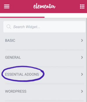 A screenshot that shows how installing Essential Addons adds an extra set of elements to Elementor