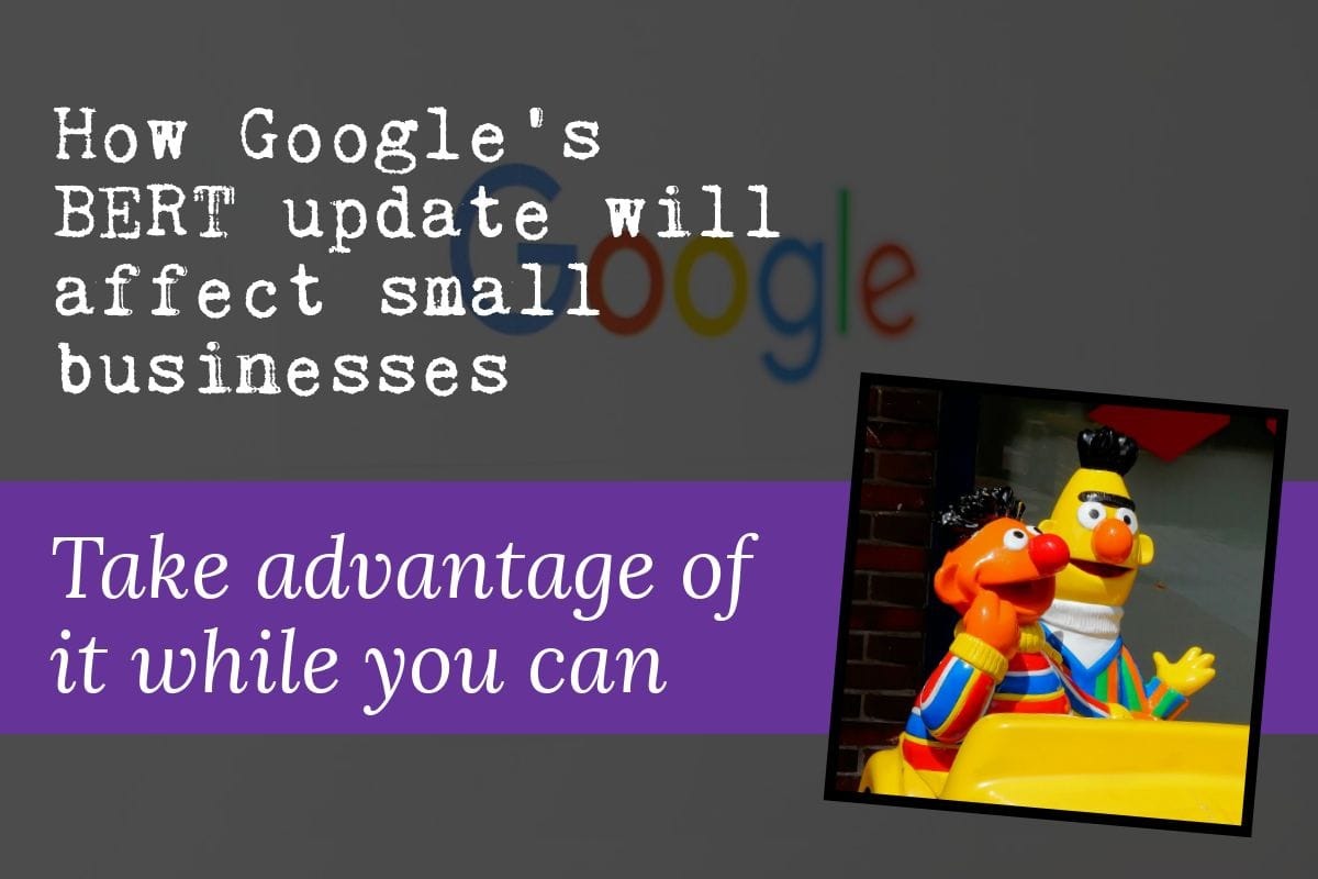 Featured image that features Bert from Sesame Street, an image of Google, and the words 'how Google's BERT update will affect small businesses — take advantage of it while you can'