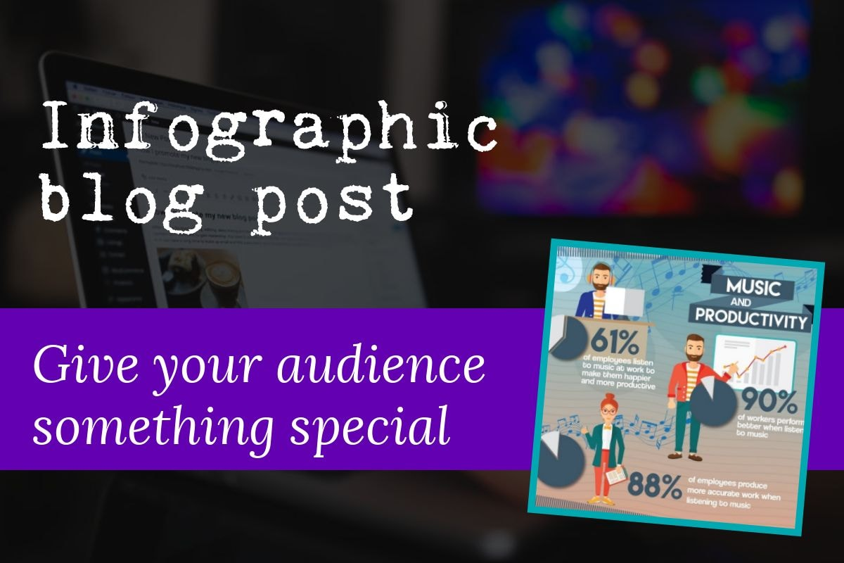 The seventh type of blog post is the infographic blog post which is great if you want to give your audience something special. The image includes a screenshot of a typical infographic blog post.