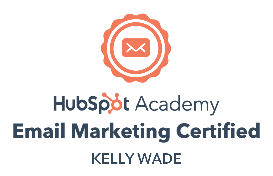 Certificate that proves Kelly has passed the HubSpot Academy Email Marketing certification