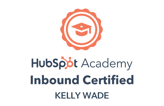 Certificate that proves Kelly has passed the HubSpot Academy Inbound marketing certification