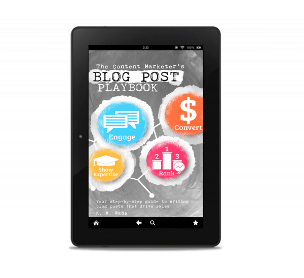 The Content Marketer's Blog Post Playbook cover on a tablet
