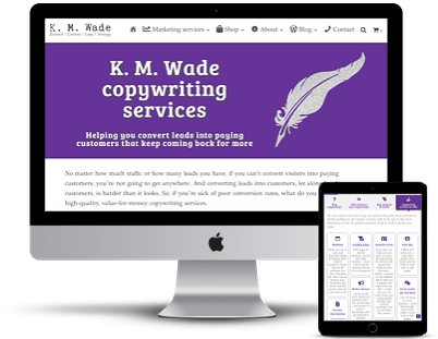Screenshots of two parts of one of the K. M. Wade services pages
