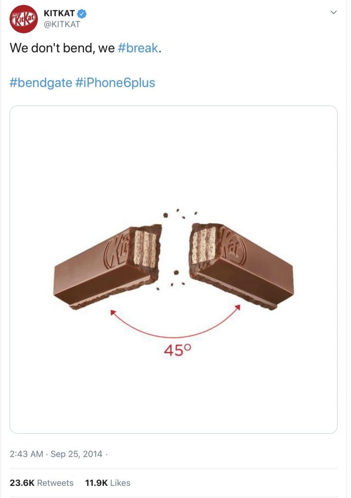 A KitKat has been snapped in half and the caption reads 'we don't bend, we #break. #bendgate #iPhone6plus'