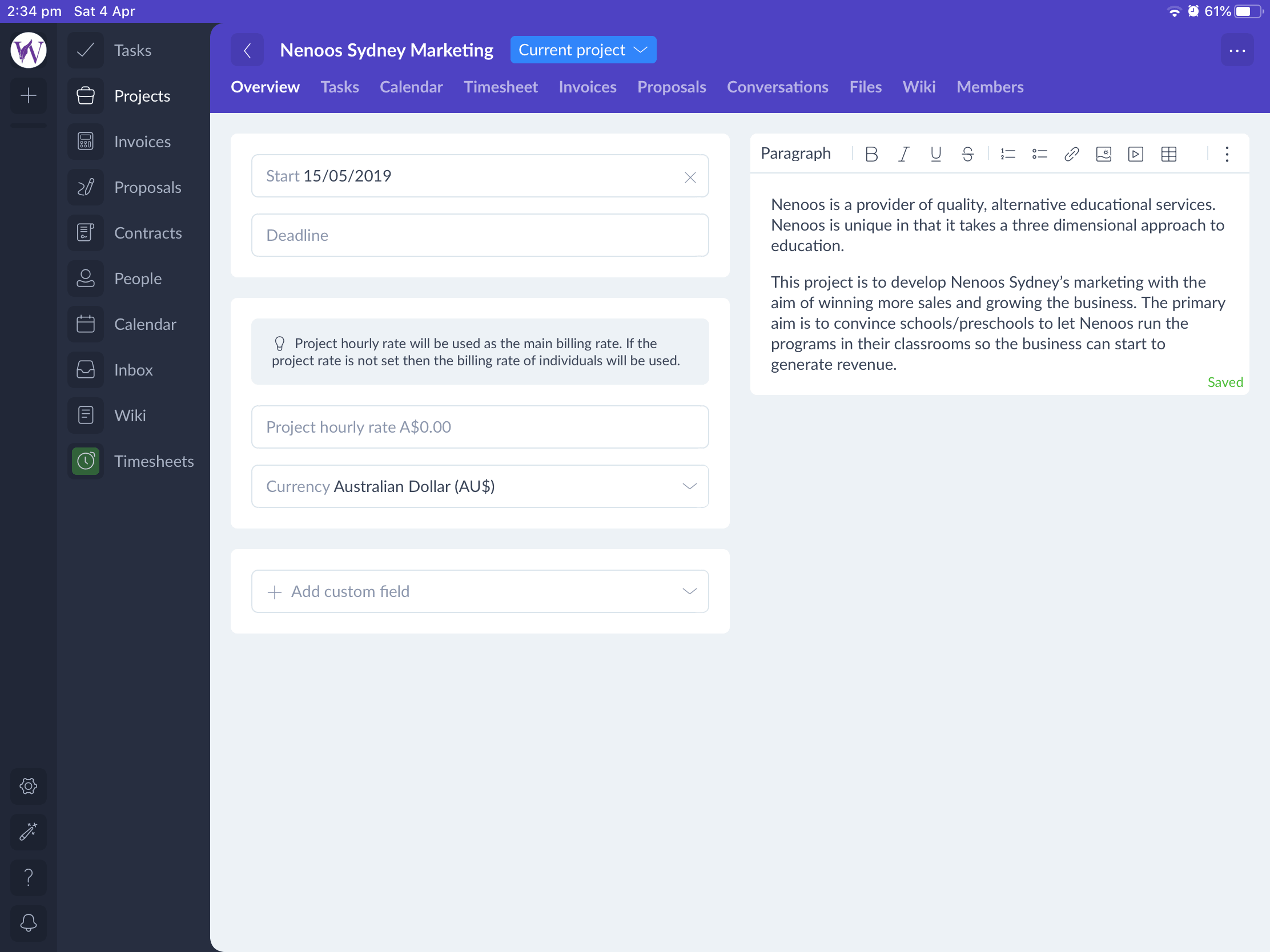 Plutio's project feature is perfect for anyone working from home