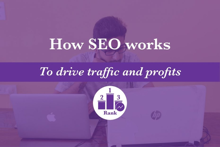 How SEO works to drive traffic and profits featured image, which includes the K. M. Wade rank icon to symbolise that SEO works by increasing search rankings