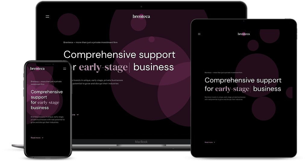 Screenshots of the Brenteca website on three different screen sizes