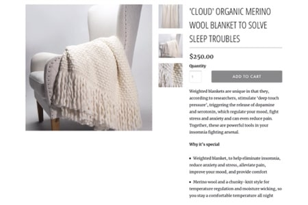 Screenshot of the Cloud Merino Wool Weighted Blanket K. M. Wade crafted for Dust Sugar