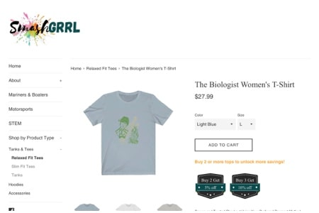SmashGrrl logo and a photo of a grey t-shirt with an illustration of a female biologist for 'The Biologist Women's T-shirt'
