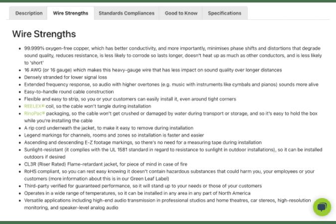 Premium product description features and benefits